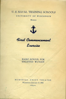Document: Cover of commencement program from Radio School for Enlisted Women at the U of Wisconsin, Madison, January 27, 1943.