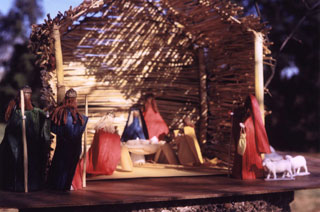 Nativity Creche created by Mary Joy Breton from corn husks and found objects, 1958.