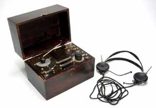 Homemade crystal radio set with headphones, 1925.