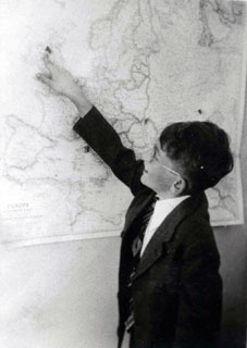 David Berman, pointing to Northern Ireland on a map of Europe, June 1944.