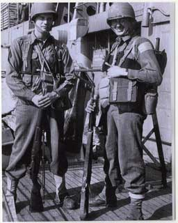 Donald S. Frederick (left) with Ted Rensink, 1st Ranger Battalion, enroute to North Africa, 1942.