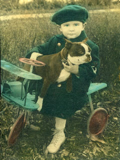 "Bill Cameron with his Boston Terrier, ""Pat"", Luverne, Minnesota, ca. 1928."