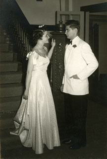 Photo: Marj Pelton at a fraternity dance with Bill Cameron at the University of Minnesota, ca. 1950.