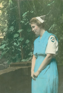 Photo: Emily Day, wearing her social worker's uniform, ca. 1940s.