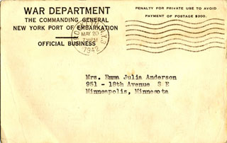 Card received by William L. Anderson's mother to let her know he had arrived safely at a new destination.
