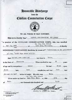 R. John Buskowiak's CCC Discharge Papers, April 13,