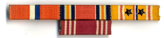 Jo Downey's service ribbons and bronze stars.