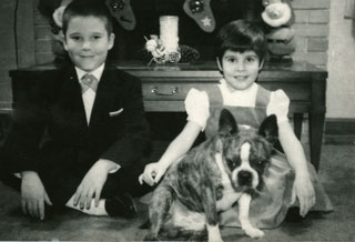 "Photo: Linda and David Cameron with the family dog, ""Duffy"", Christmas card, 1961."