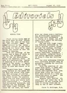 Editorial from Pine Knots, CCC Co. 708, Camp Rabideau, August 27, 1937.