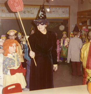 Photo: Emily Day joined her Richfield students in celebrating Halloween, ca. 1960s.