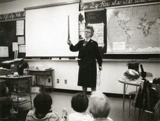 Emily Day, teaching at Richfield East Elementary School, 1958.