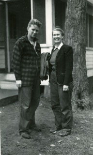 Photo: Whittier and Emily Day, at Camp Kitchi Kahniss on Lake Mille Lacs, Aitkin County, ca. 1945.