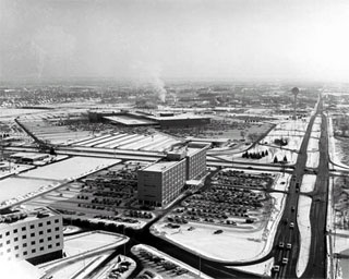 Aerial view of Edina showing Fairview Southdale Hospital and medical clinic, 1966.