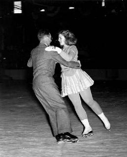 Photo: Dorothy Snell ice skating with her father, George F. Snell, 1938-1939.