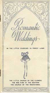 Wedding brochure, Forest Lawn Cemetery, Glendale, CA, 1942.