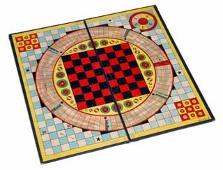 Reversible board games, including checkers, 1920s.