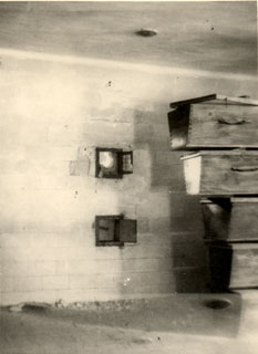 The gas chamber at Dachau Concentration Camp, 1945.