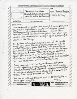 "Document: ""V-Mail"" letters received by B.J. Gersey from her family, given to her on the Honor Flight to Washington, DC, September 13, 2008."
