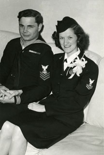 Elizabeth (B.J.) Hughes and Jon J. Gersey on their wedding day, February 24, 1945.