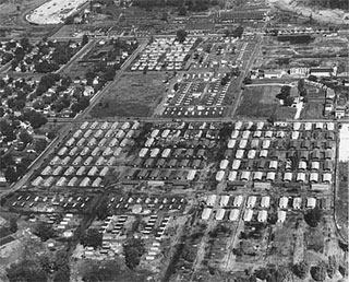 Aerial view of University Village for G.I. housing at Twenty Seventh Street and Como Avenue, Minneapolis; East Hennepin Avenue at top of view, 1946.