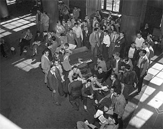 Photo: Group of students (Veterans) in Coffman Memorial Union, 1946