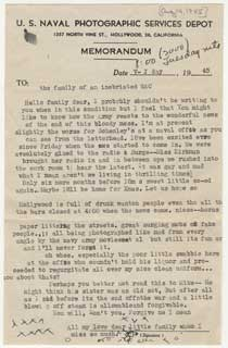 V-J Day letter from Anne Bosanko to her parents, August 14, 1945.
