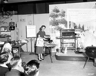 Photo: Outdoor grilling demonstration, Dayton's, Minneapolis, 1956.