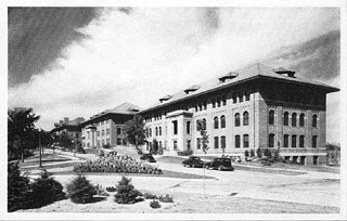 Photo: Administration, Engineering, and Haecker Hall, University Farm, 1940.