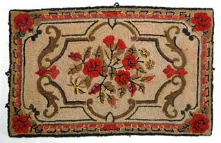 Object: Hooked rug with floral design, 1932-1934.
