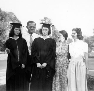 Jane Shields (left) posed with her sisters and parents upon her graduation from the University of Minnesota in June 1941.