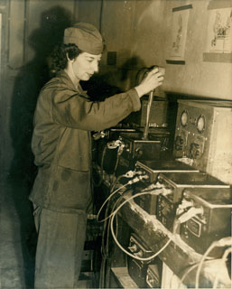 Ferne Chambers Krans, operating machinery while in the U.S. Marine Corps, ca. 1943.