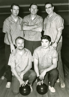 Photo: Tom Cousins (standing, right) with his bowling team, about 1969.