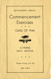Document: Program for Graduation exercises, Luverne High School, 1944.