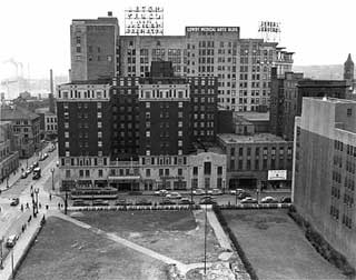 Looking west over Victory Square from Athletic Club Building to Lowry Hotel, 1949.