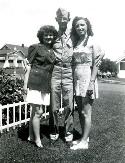 "LuCille Waldhauser (left), editor of ""The Home Front News,"" with brother Andy, and sister Lil, July 1946."