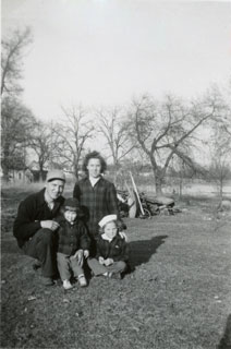 Paul and Marian Maxson with their children, with Marsh Lake in the background, ca. 1946.