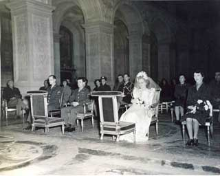 Michael McKeogh and Pearlie Hargrave wedding, in Marie Antoinette's Chapel, Palace of Versailles, France.
