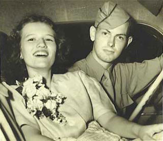 Pat and Bob McKewin on their wedding day, June 15, 1944.