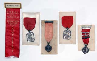 Ice skating medals won by Dorothy Snell, 1937-1940.