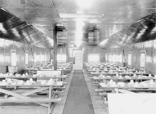 Civilian Conservation Corps camp mess hall, probably Company 707, Deer River, 1936.