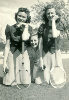 Millie Bowers with friends, ca. 1940s.