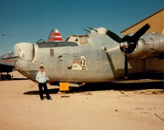 Millie Bowers Johnson with B-24 Bomber at the Pima Air & Space Museum, Tuscon, AZ.