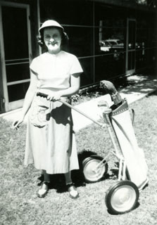 Photo: Marj Pelton at the Luverne Country Club, 1951.