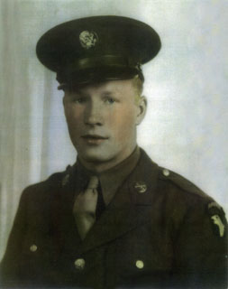 Pfc. Ray Nagell in dress uniform, with 101st Airborne patch on his left sleeve.