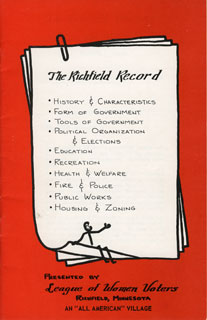 "Document: ""The Richfield Record,"" prepared by the League of Women Voters of Richfield, Minnesota – An ""All American"" Village, 1954."