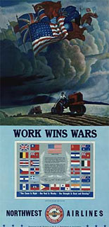 """Work Wins Wars"" - Northwest Airlines poster promoting defense work, 1942-1943."