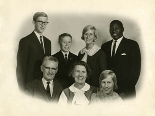 The Day family of Richfield with African student, Trywell Nyirongo, 1964.