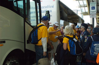 Photo: Honor Flight veterans enjoyed comfortable buses for their tour of Washington, DC.