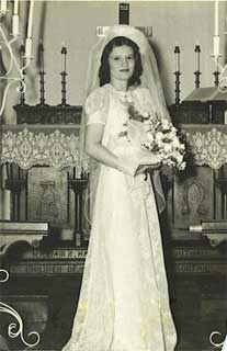 Patricia Berry McKewin on her wedding day, June 15, 1944.