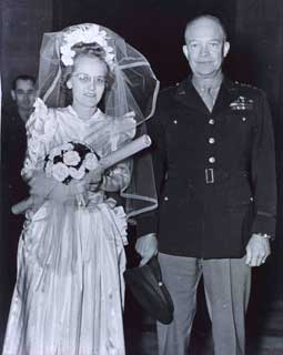 Pearlie Hargrave McKeogh and General Eisenhower, following the wedding ceremony.